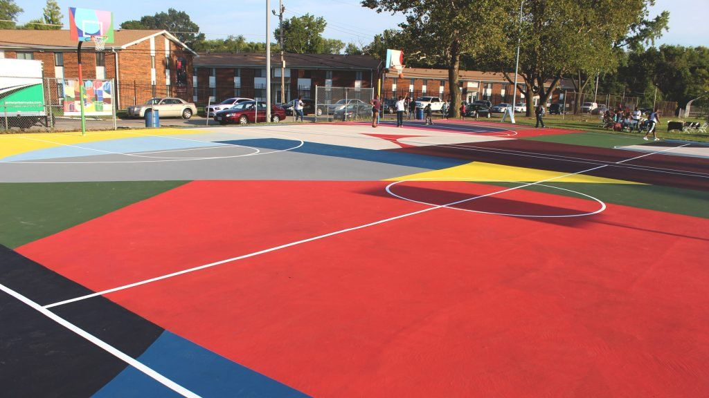 Kinloch Park Basketball Courts Mural By William Lachance Basketball Court Basketball Court