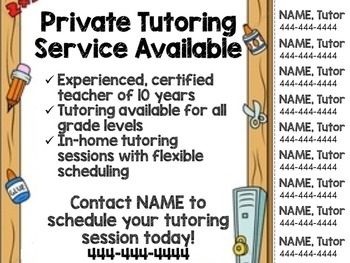 Tutoring Flyer Several Themes Editable  Custom Flyers And School