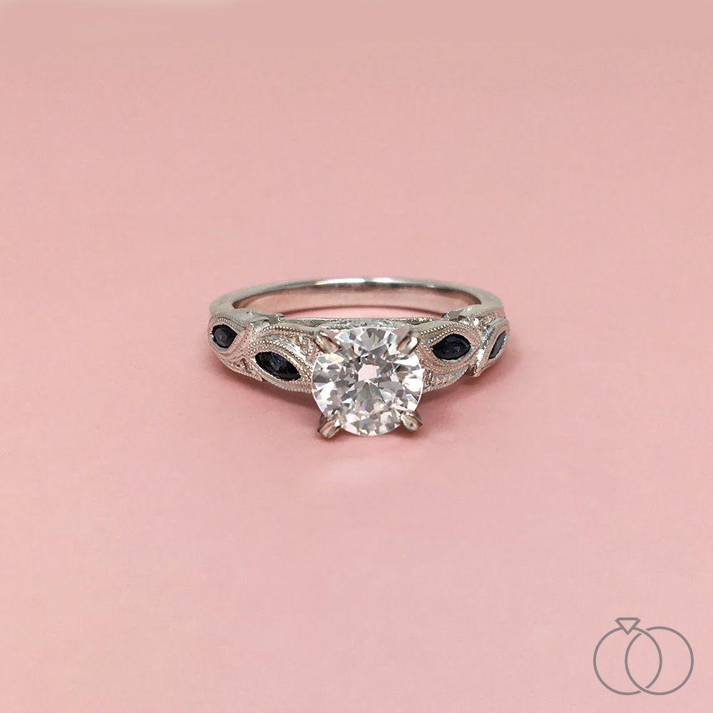 Kirk Kara 18K White Gold Diamond and Sapphire Engagement Ring ...