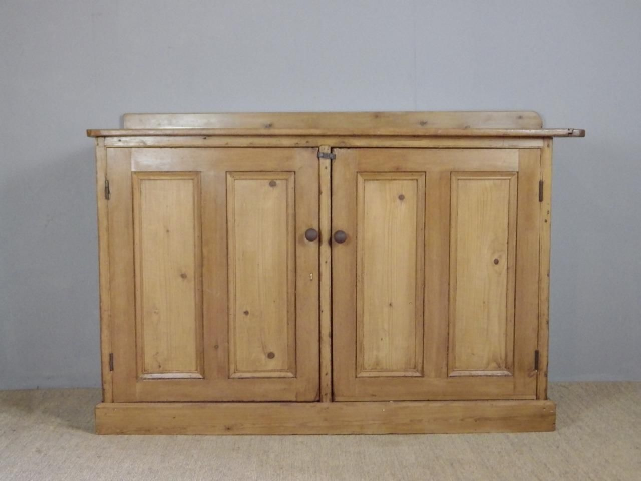 Hallway storage armoire  Large Antique Victorian Pine Housekeepers Cupboard Dresser Base
