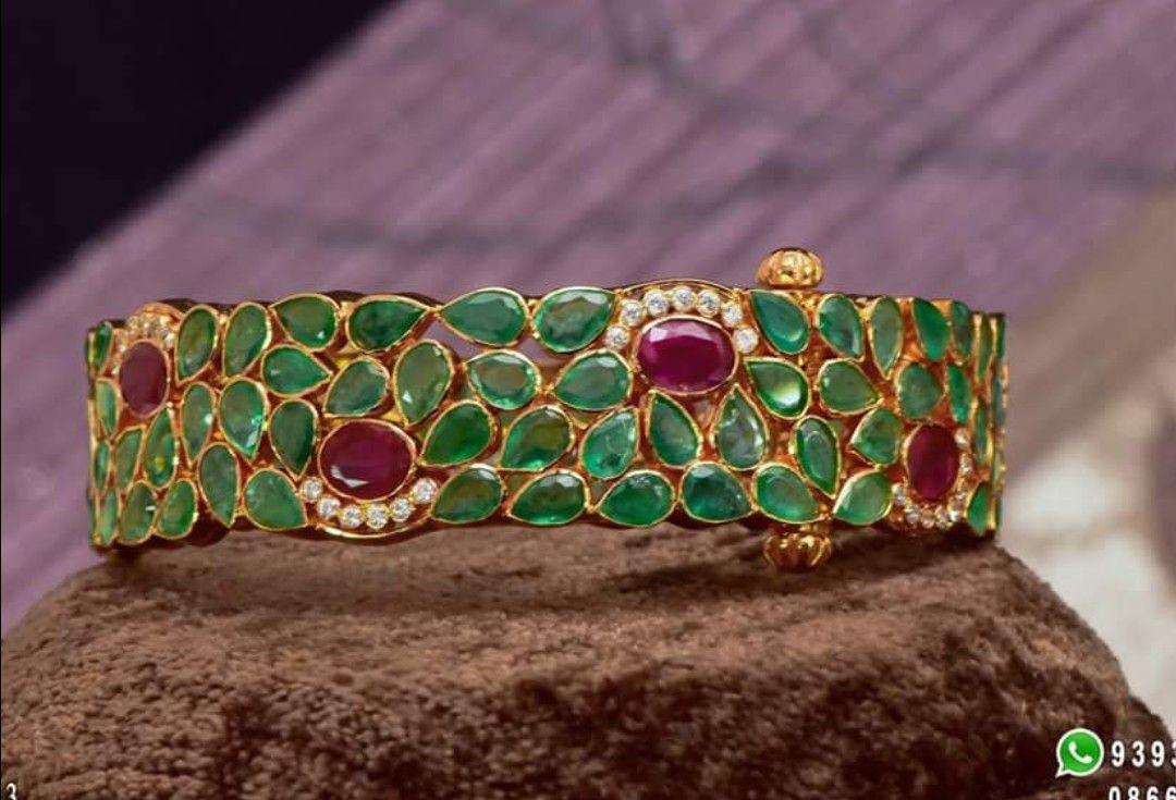 Imitation cz ruby emerald floral oval baajubandh cum choker