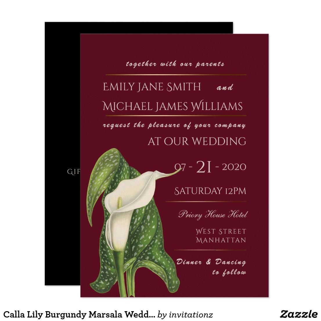 Calla Lily Burgundy Marsala Wedding Invitation | Trending Wedding ...
