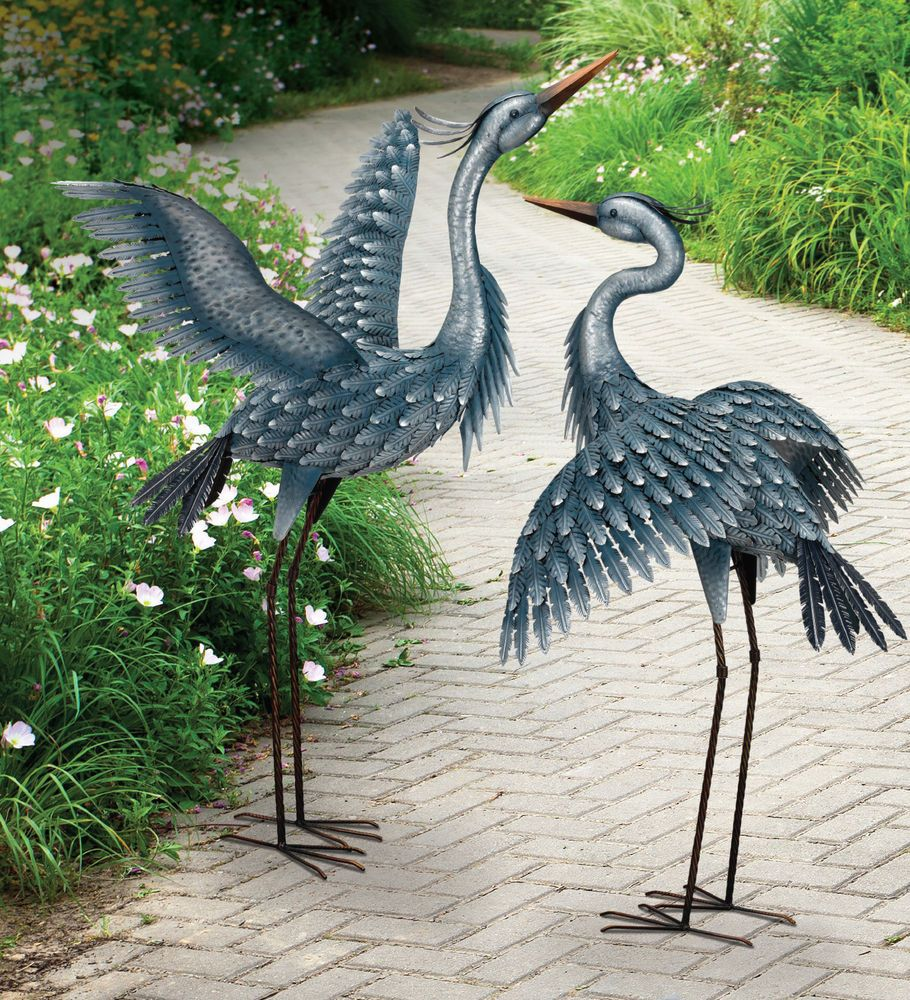 Metallic Blue Heron Crane Metal Garden Art Decor Sculptures Set Of 2 Unbranded Metall Gartenkunst Gartenstatue Schrottplatzkunst