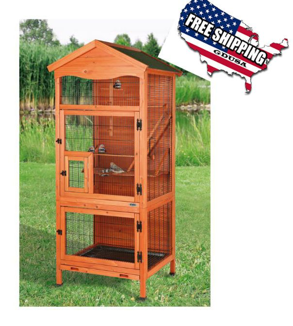 Aviary Bird Cage Flight Cages For Birds Finches Large Wooden Parakeets Patio