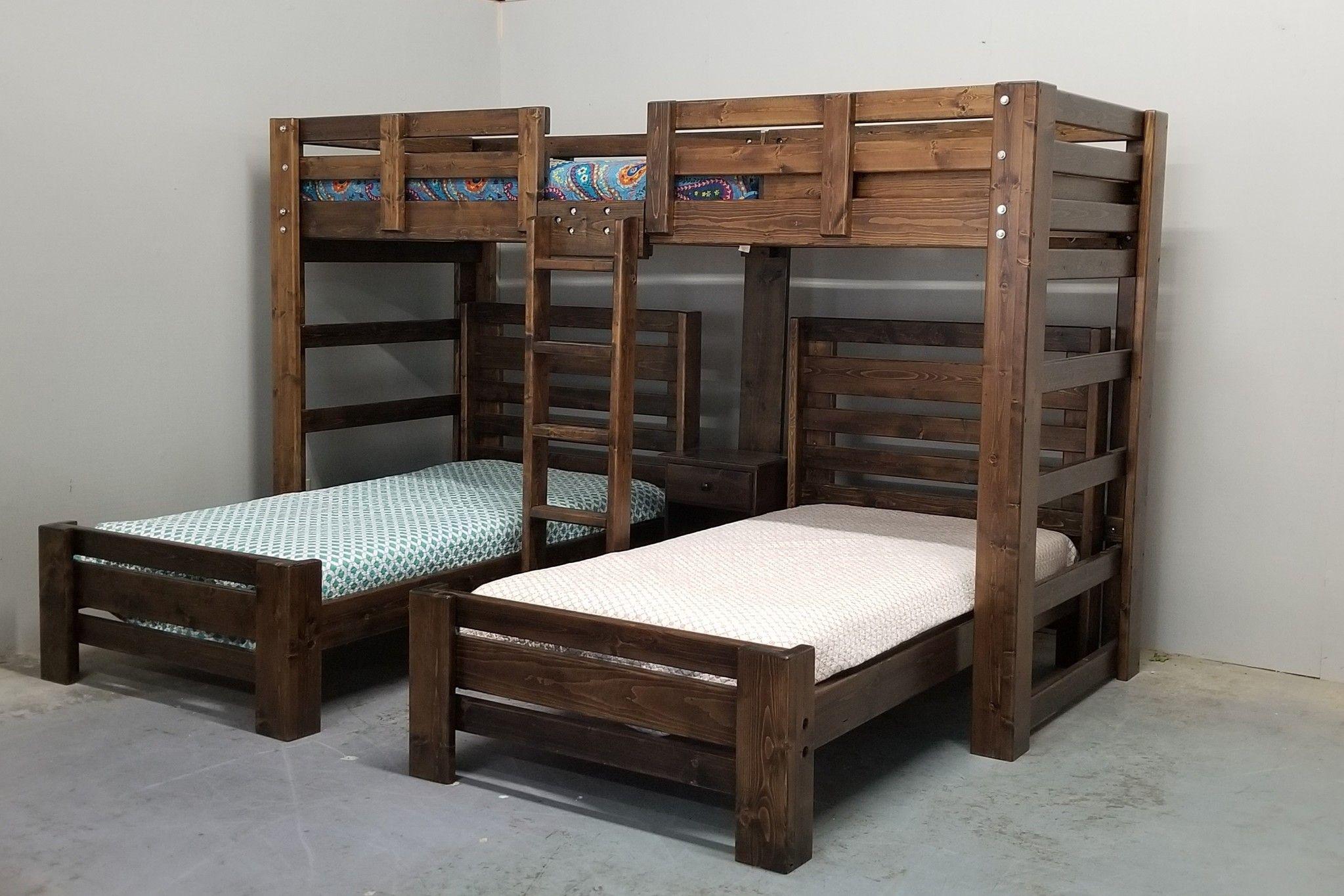 Hat Trick Triple Bunk W 2 Plank Beds Bunk Bed Sets Diy Bunk Bed Triple Bunk Beds