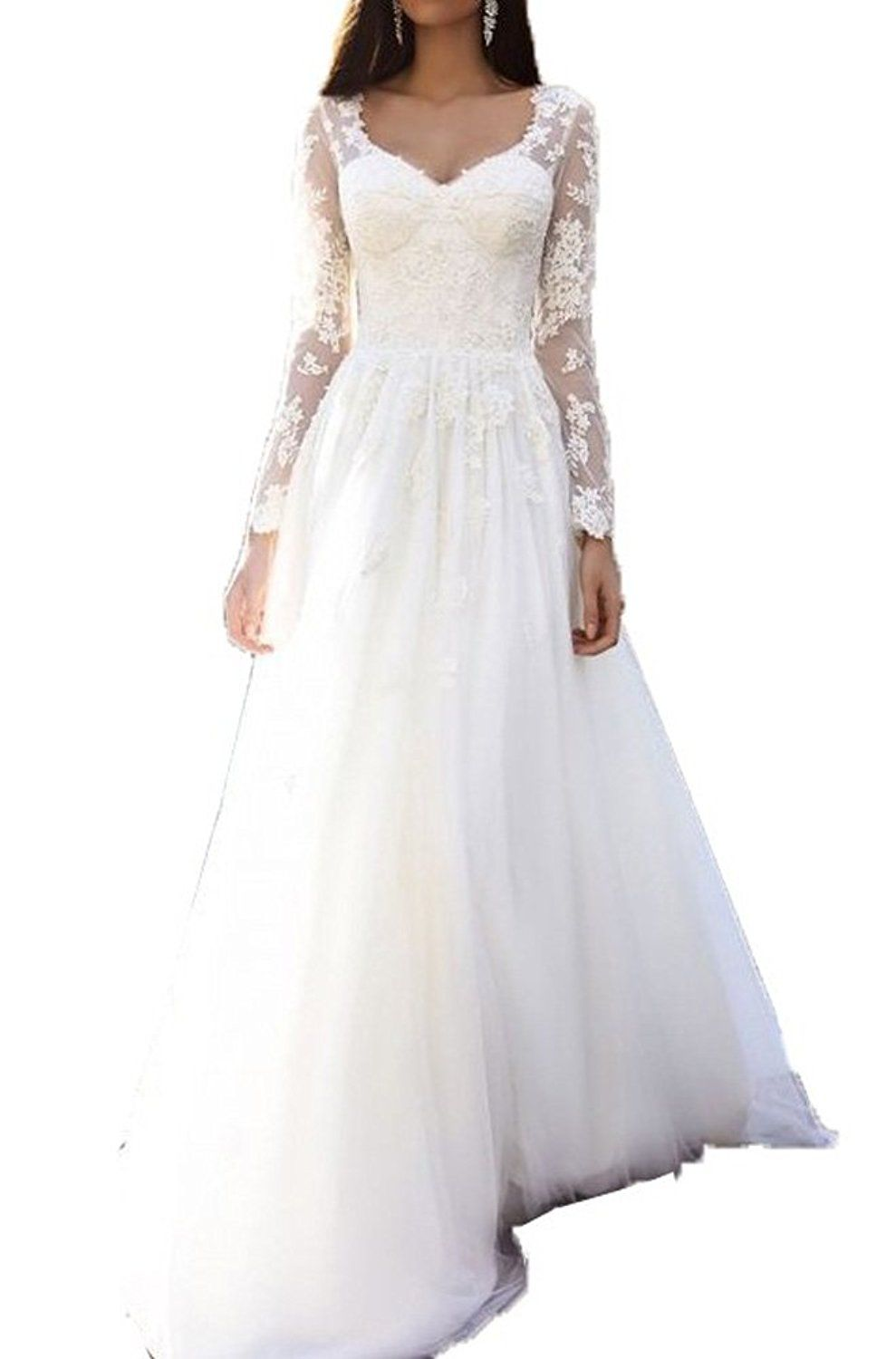 Fanmu long sleeves v neck lace appliques tulle wedding dresses