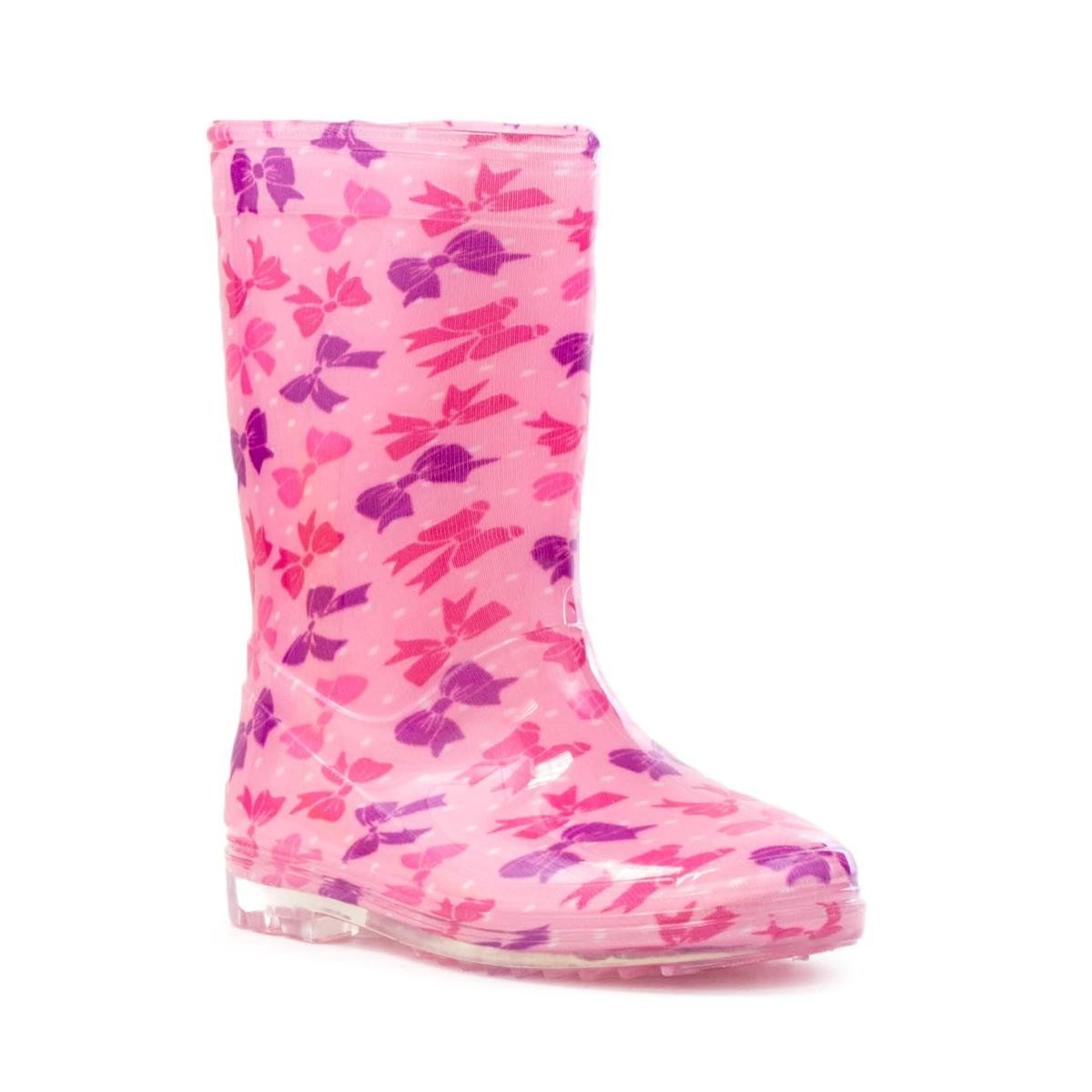 Zone Hearts   Girls Pink Welly with Bow and Polka Dot Print  Size 9 Child  UK  10 Kids US  Pink Lining Textile