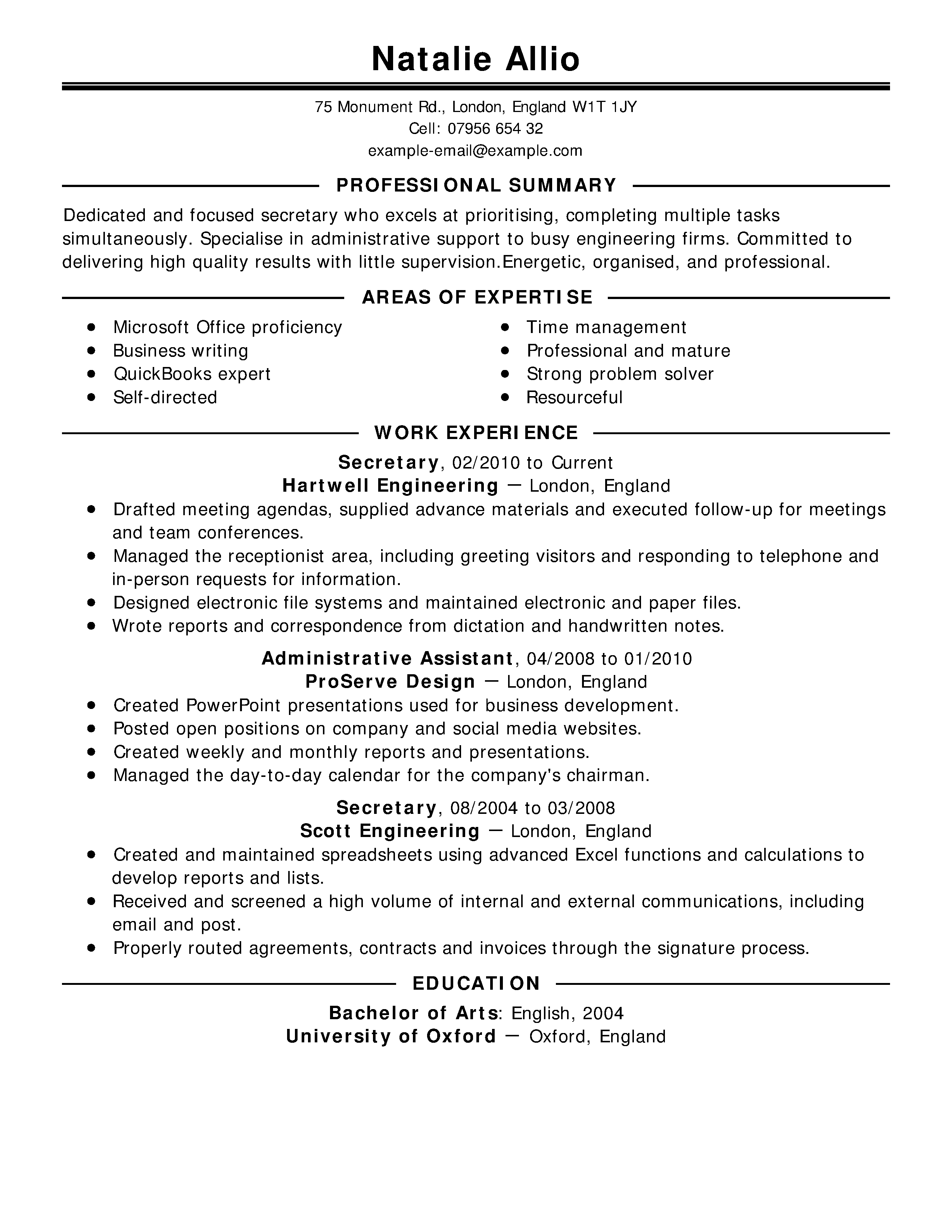 examples of resume for when u worked