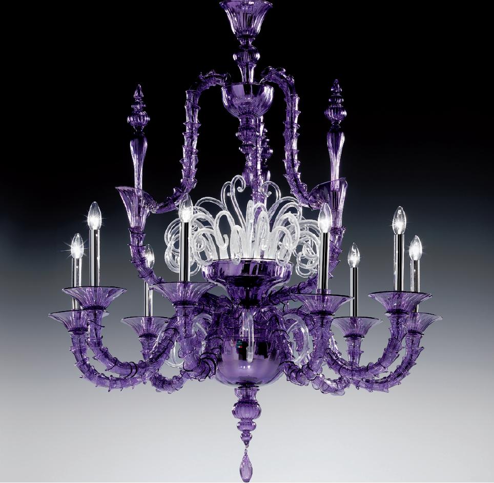 Large Purple Traditional Rezzonico Murano Glass Chandelier Dm0viva0k10