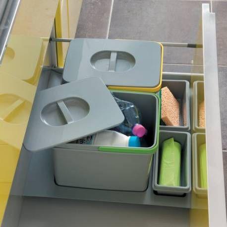 Collecteur 2 Seaux Avec Couvercles Accessoires Cuisine Couvercle Poubelle Sous Evier