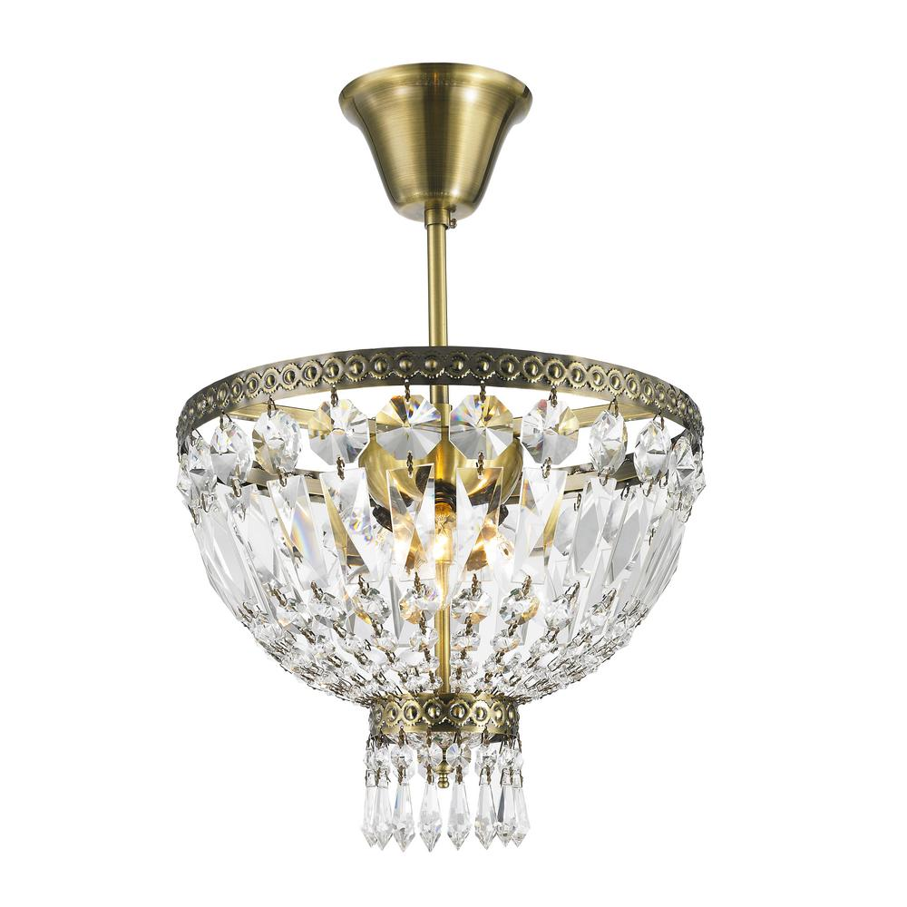 Worldwide Lighting Metropolitan Collection 1 Light Antique Bronze And Clear Crystal Semi Flush Mou Semi Flush Mount Lighting Ceiling Lights Flush Mount Ceiling
