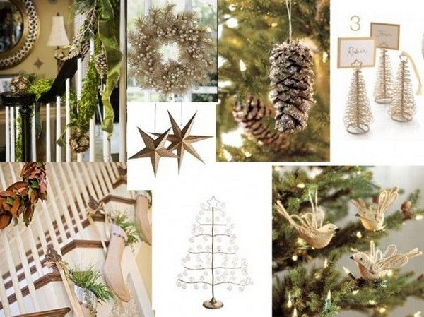 Weihnachtsdeko-Ideen-Papiervögel-goldene-Papiersterne-Treppen - weihnachtsdeko ideen