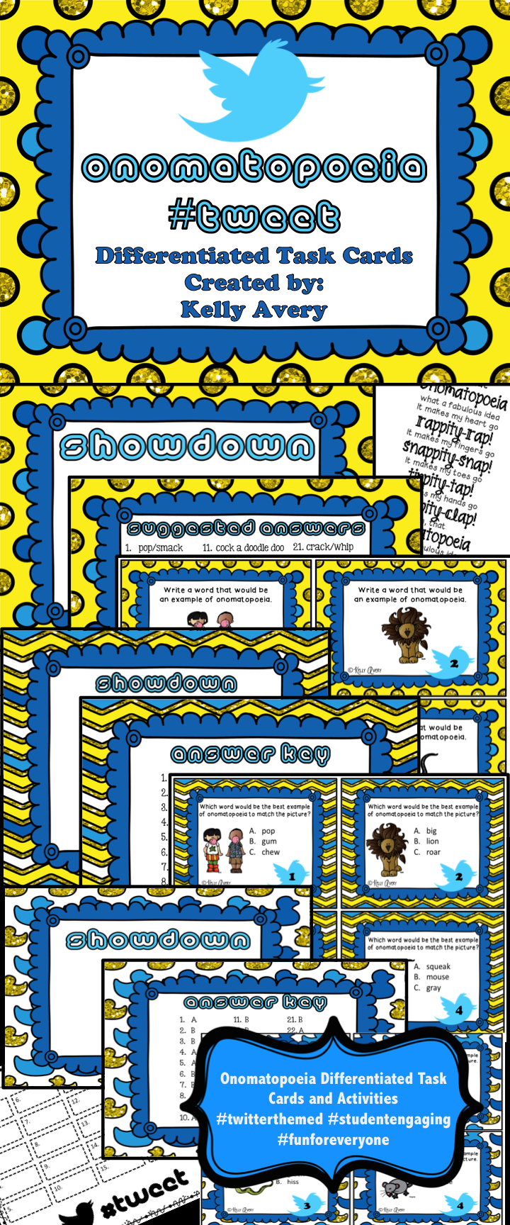 Onomatopoeia Differentiated Task Cards Word Work Work on Words ...