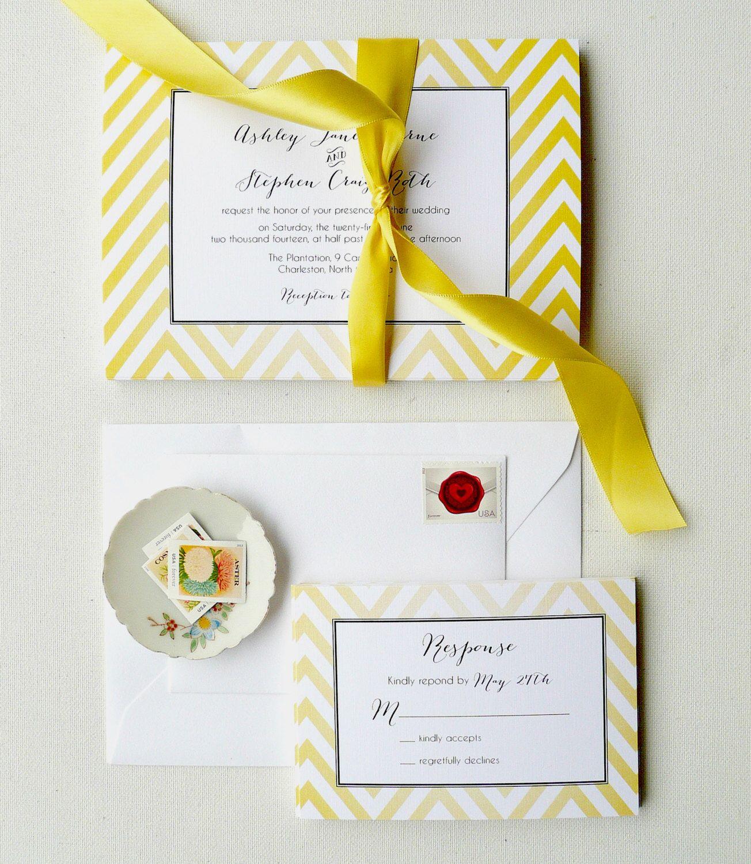 Yellow Wedding Invitations, Chevron Invites, Yellow and Black ...