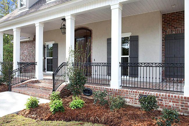 Willow Bend Lot 52 Brick Porch Wrought Iron Porch Railings House With Porch