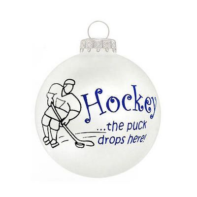 Hockey Puck Drops Here Glass Ornament