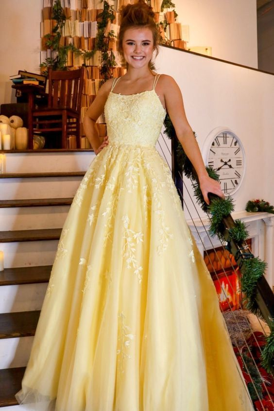 2020 yellow long prom dress with lace appliques | Prom ...