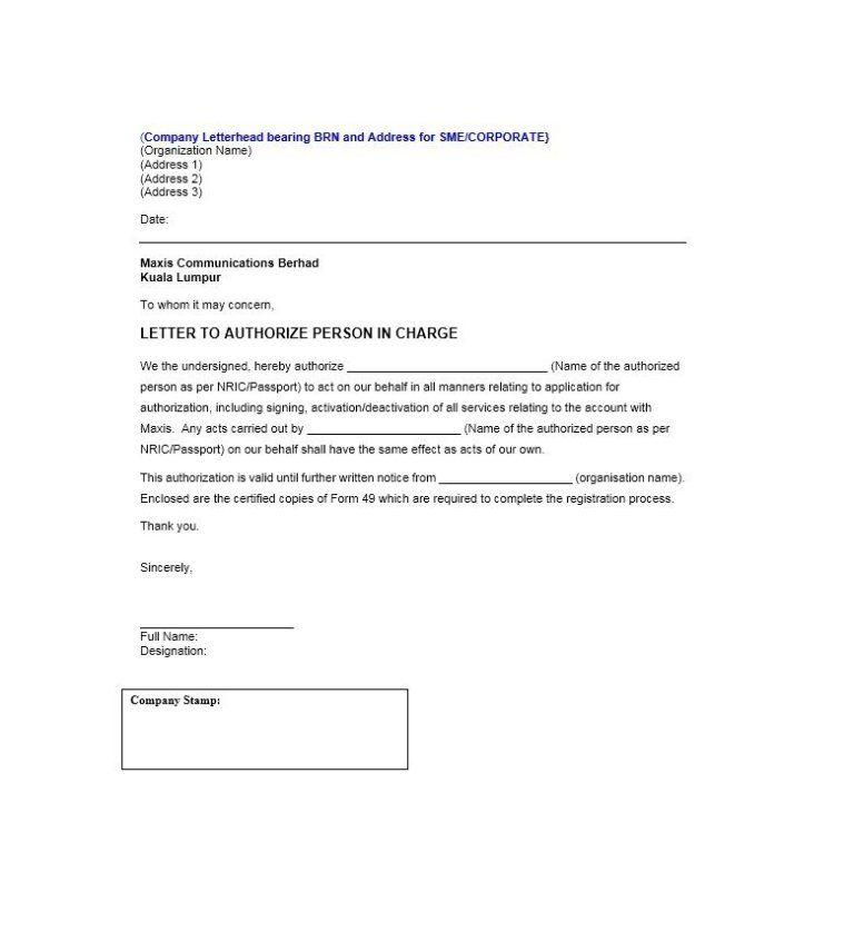 Authorization Letter Samples Memo Template Letter Sample