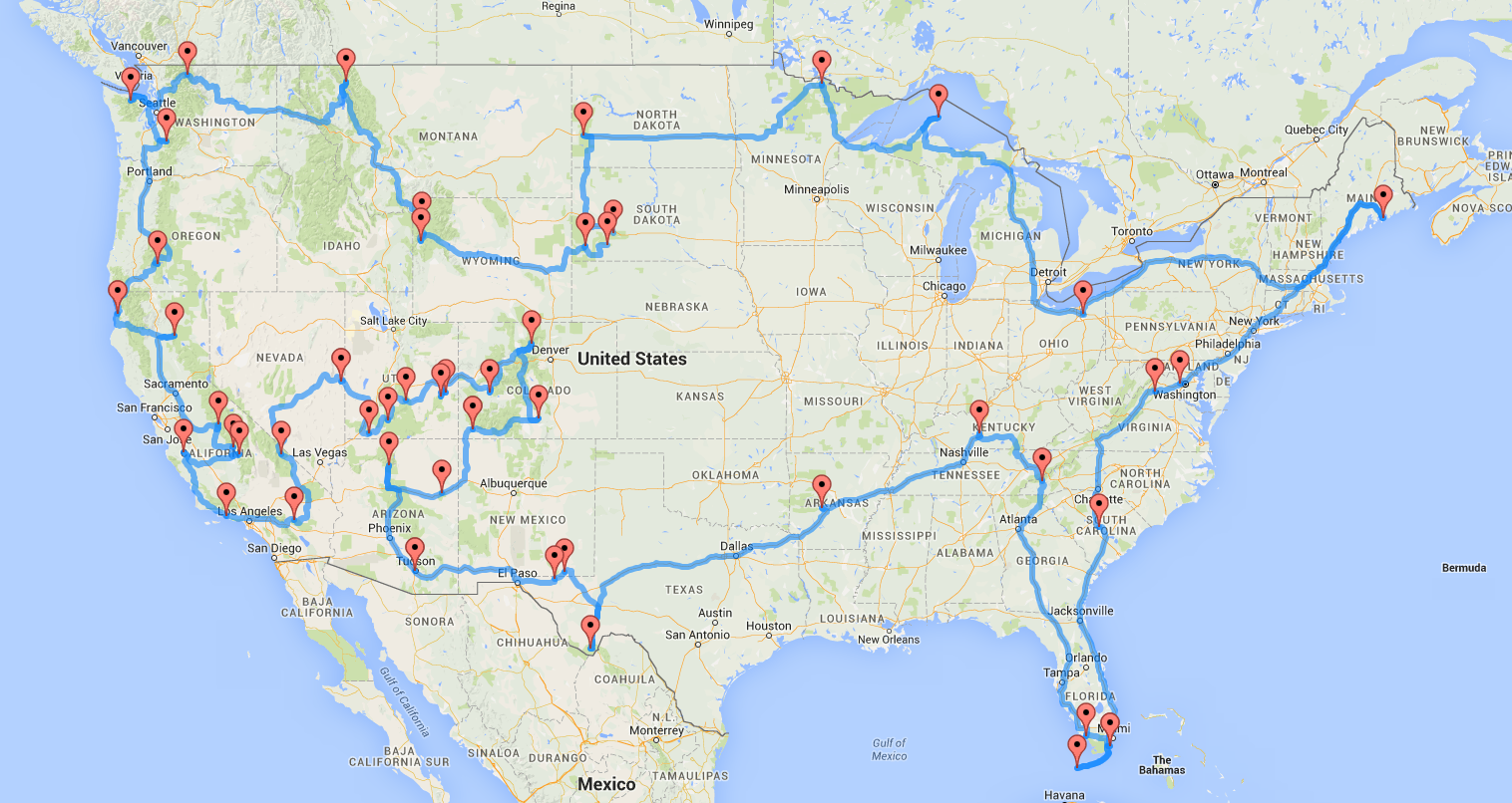 Interested in hitting all of the National Parks in the lower 48 – Google Travel Planner Map