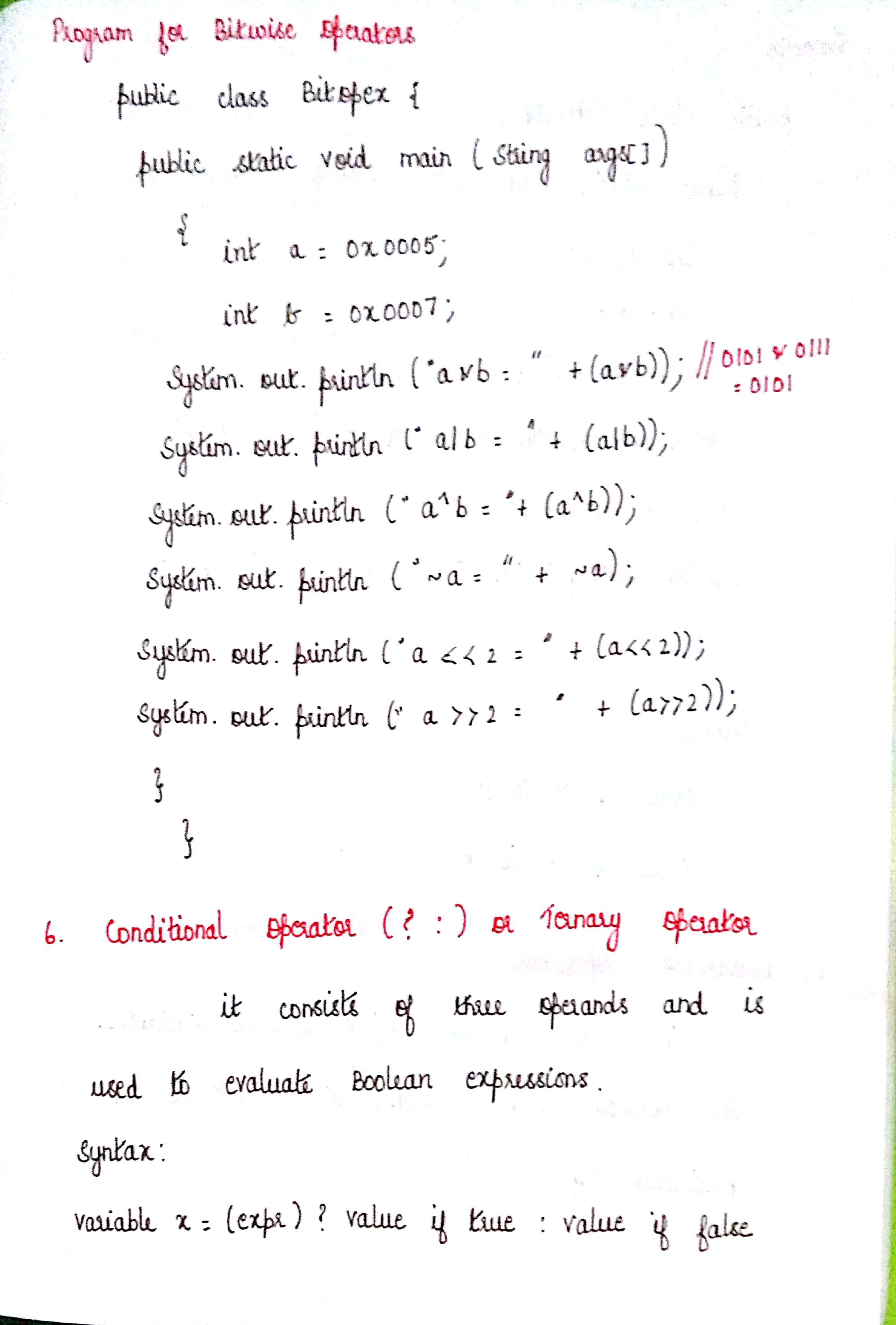 EASY LEARNING JAVA - OPERATORS    con   PAGE - 1 Written and