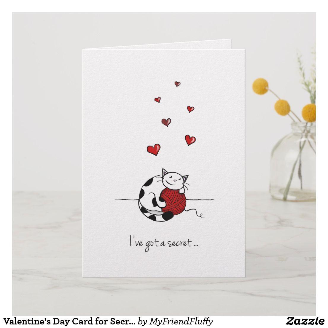 Valentine S Day Card For Secret Love Cute Cat Zazzle Com In 2021 Valentine Day Cards Valentines Cards Valentines Day Cards Diy