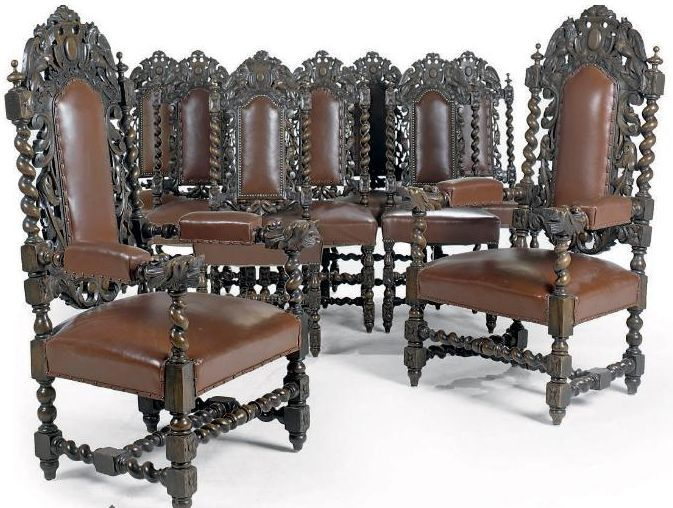 Carolean Chairs, Typically For The Period With Spiral Turned Legs And  Backrest Frame. Reproduction