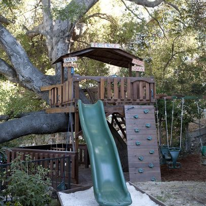 Tree House Design Ideas   One Side U003d Slide Into Sand, Rock Wall Up Other