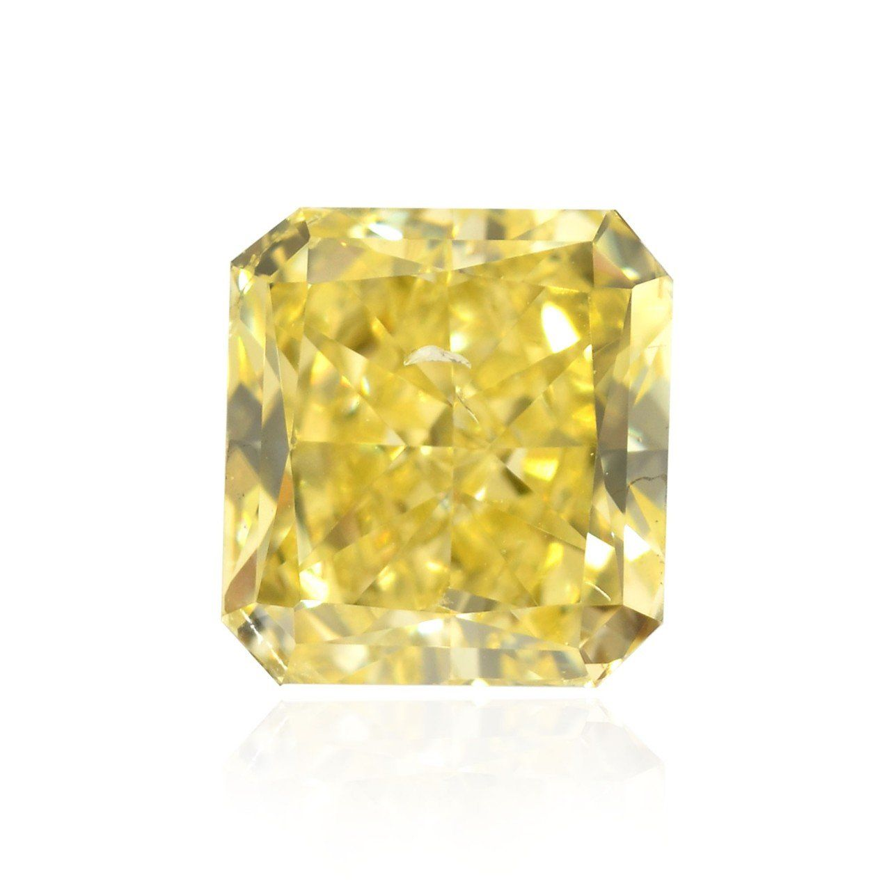 0.70Cts Fancy Yellow Loose Diamond Natural Color Radiant Shape GIA Certified