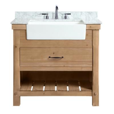 Marina 36 In Single Bath Vanity In Driftwood With Marble Vanity Top In Carrara White With White Farm In 2020 Single Bathroom Vanity Marble Vanity Tops Bathroom Vanity