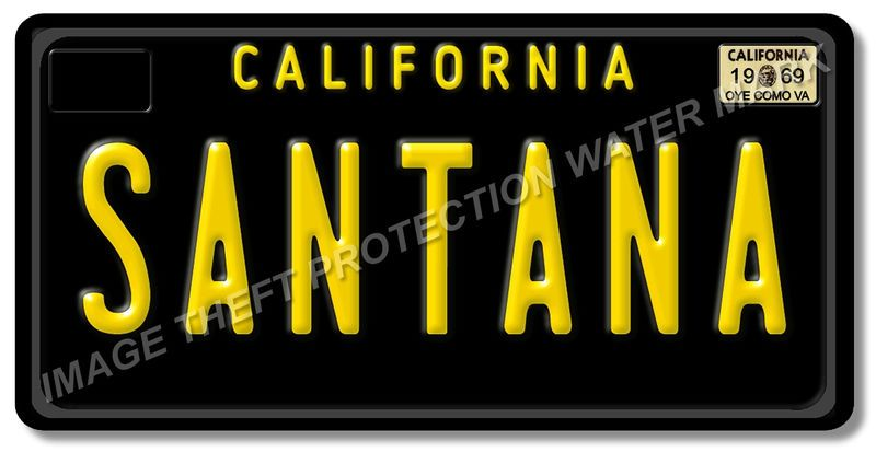 SANTANA California 1969 Prop Replica 100% Aluminum Vanity License