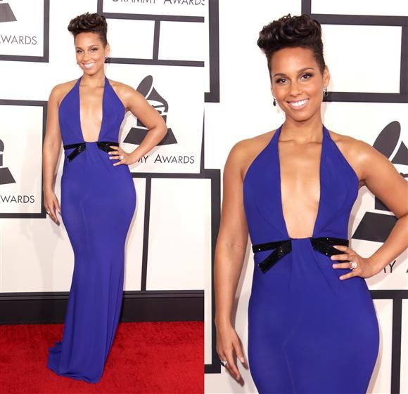 Love the electric-blue color of this Armani Privé silk gown on Alicia Keys, but we could have done with a smidge (OK, a truckload) less sternum. We remain on the fence about her hair hat pompadour.