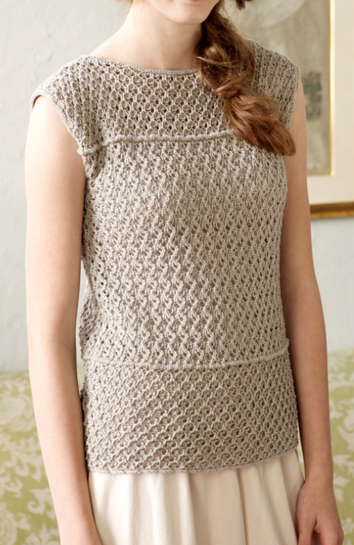 Free Knitting Pattern for Tove Top - This sleeveless pullover top features  easy eyelet lace ribbing