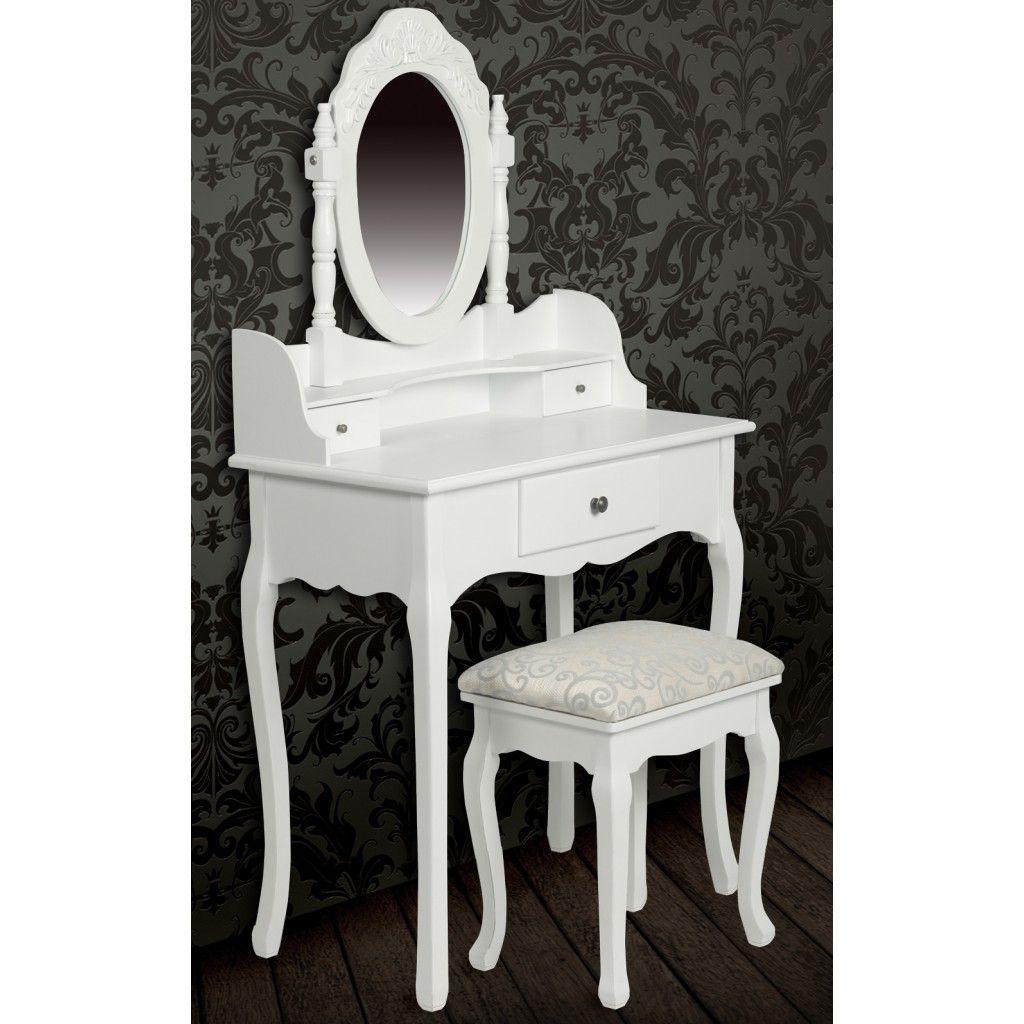 Consolle con specchio e sgabello, mobile da toeletta bianco ...
