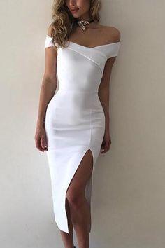 14c988cd108 White Off Shoulder Front Slit Bodycon Dress