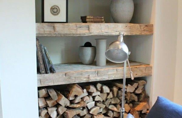 Brennholz Lagern Kaminholz Richtig Wohnzimmer Nische