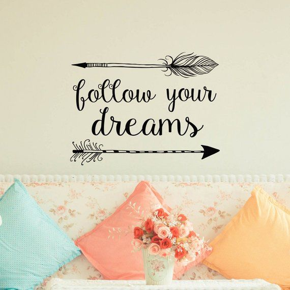 arrow wall decal- follow your dreams wall decal quote- boho bedroom