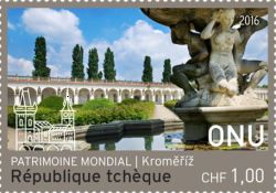 UN Geneva, 8.9.2016. UNESCO World Heritage - Czech Republic (Gardens and Castle at Kroměříž). Value 1,00 CHF, Issued (1/2): 90.000 pcs. Price: 40,52 CZK.