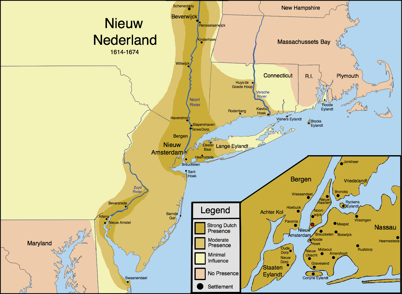 New Netherland settlements and areas of influence | Amsterdam map ...