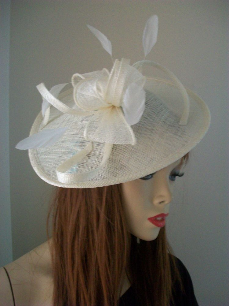 3c3fa56aa3314 NEW Ivory Cream Wedding Fascinator Saucer Hat Formal Pastel Hatinator Ascot  Disc