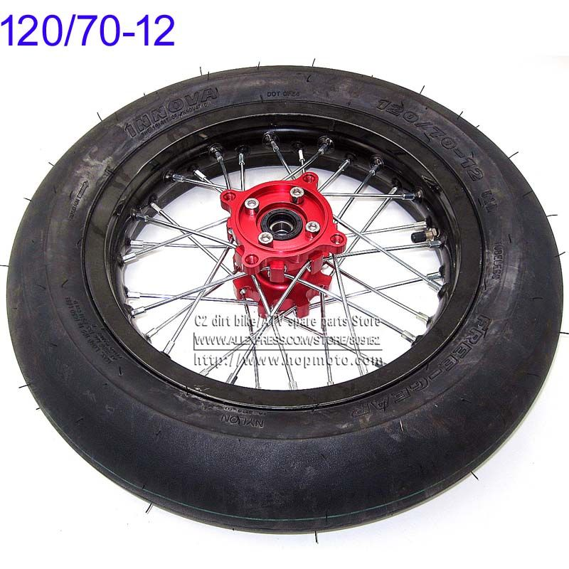 Front Wheels 120 70 12 Innova Tires 2 15 X 12inch Rims Cnc Red Hub Black Wheels 32 Spoke 15mm Axle Hole Motard Refitting Tyres Black Wheels Wheel Rims