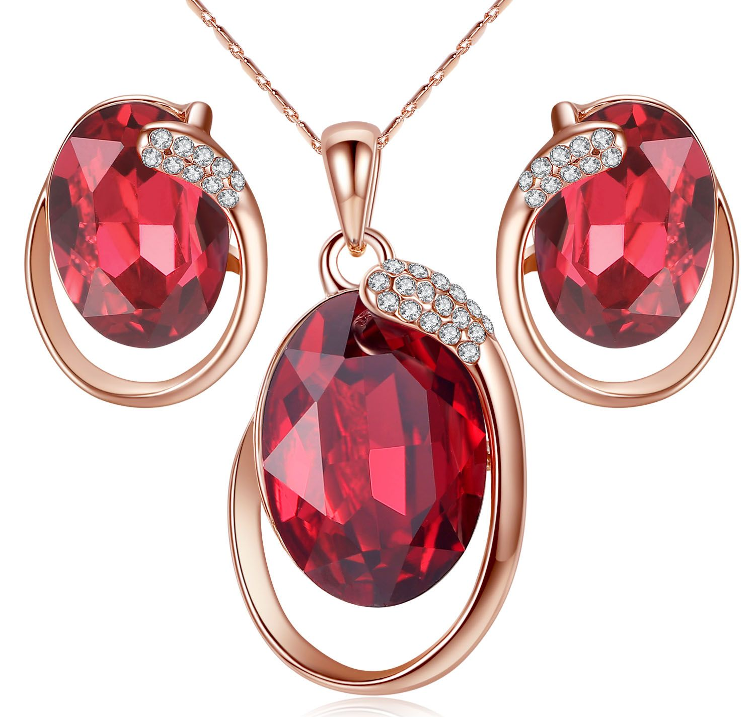 Austrian crystal jewelry set ruby red price awesome woman