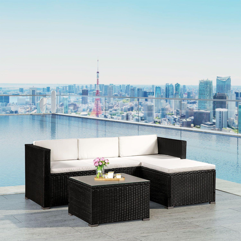 gartenlounge schwarz lounge set inkl sofa hocker und tisch f r 4 personen perfekte outdoor. Black Bedroom Furniture Sets. Home Design Ideas