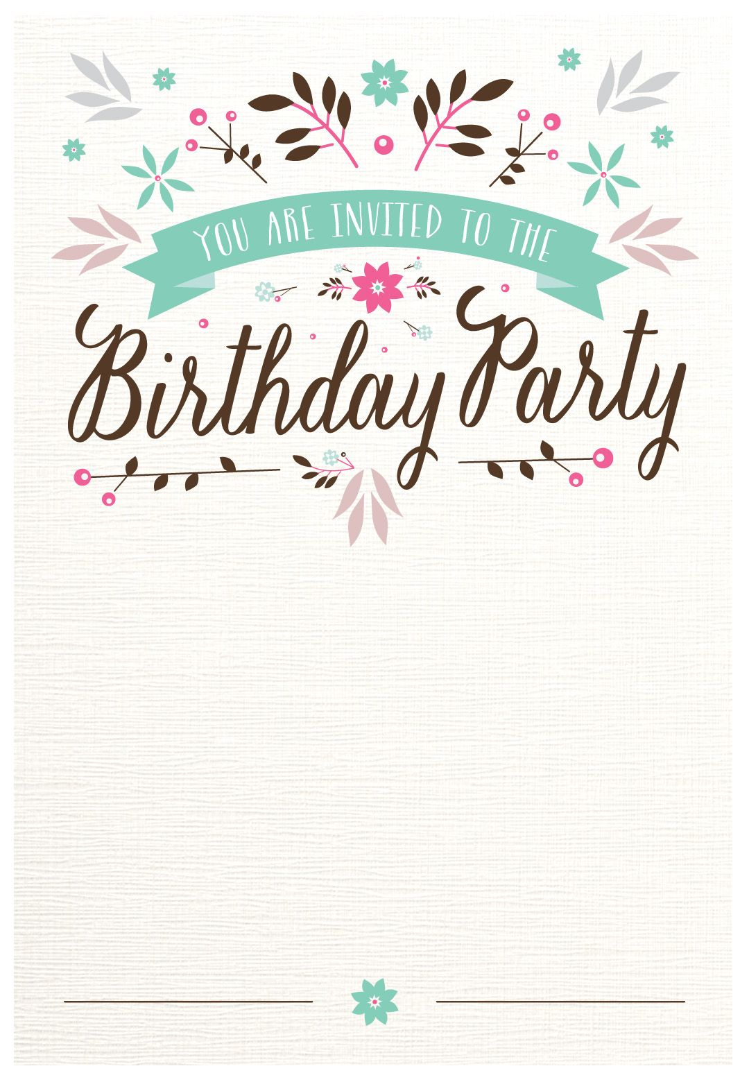 Flat Floral Free Printable Birthday Invitation Template - Party invitation template: free printable birthday party invitation templates