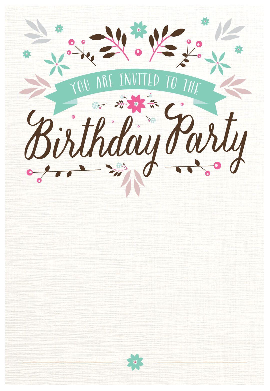 Free Printable Birthday Invitation Flat Floral Greeti Birthday Party Invitations Printable Birthday Invitation Card Template Printable Birthday Invitations