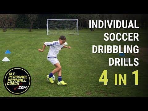 Individual Soccer Dribbling Drills 4 In 1 Soccer Practice Soccer Dribbling Drills Soccer Training Youth Soccer Drills