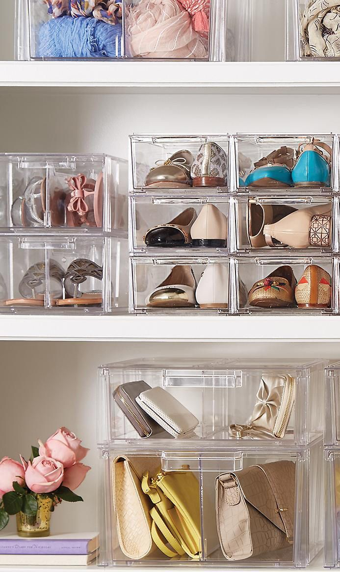 Perfectly Stacked Shoe Drawers 9 Each Containerstore Com Type A People Can Appreciate T Bedroom Organization Closet Shoe Drawer Shoe Organization Closet