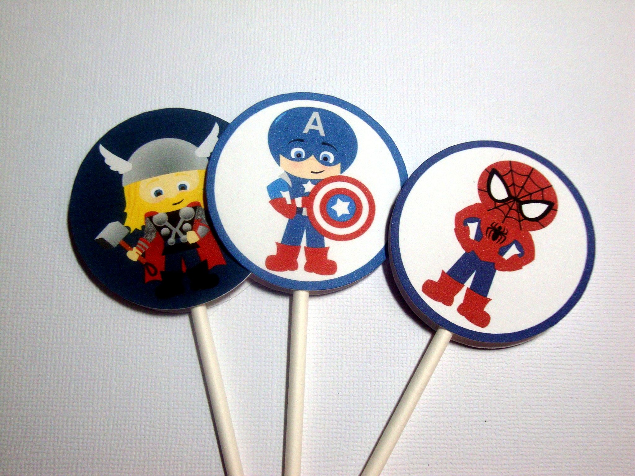 Superheroes cupcake toppers, boy birthday parties, kids birthday ideas. $21 for 24