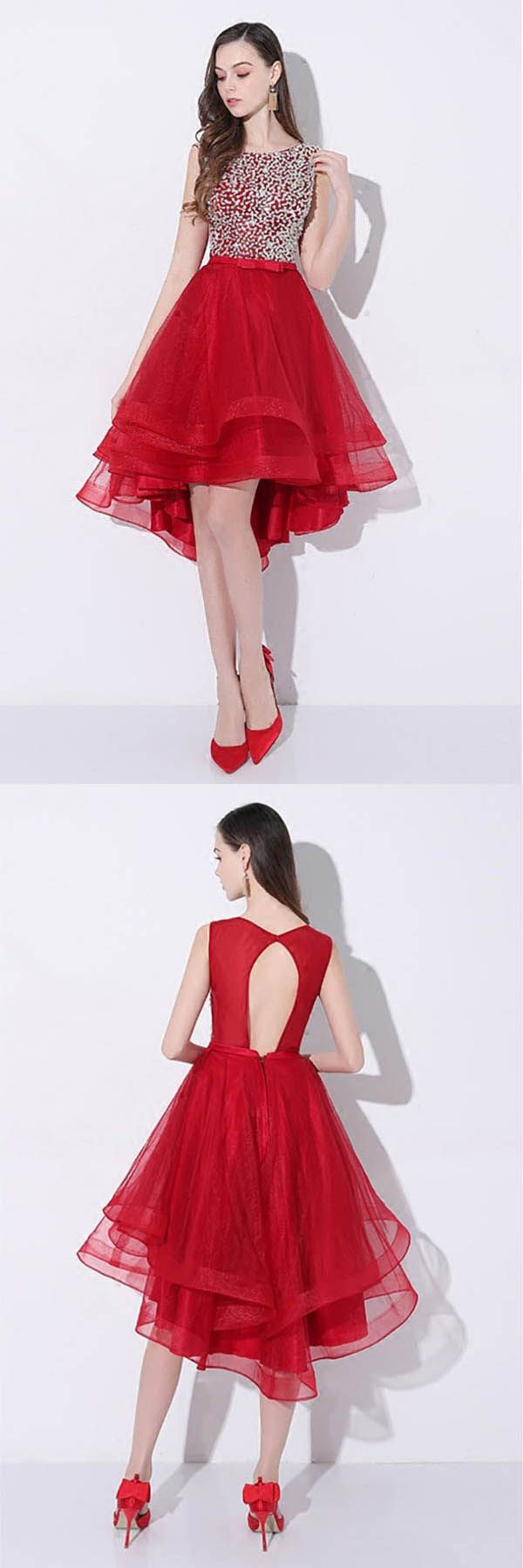 Sequins red high low prom homecoming dress with open back pd in