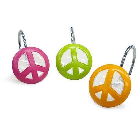 Peace Out Shower Curtain Hooks Assorted Shower Curtain Hooks