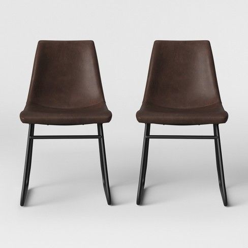 Magnificent 2Pk Bowden Faux Leather And Metal Dining Chair With Black Pdpeps Interior Chair Design Pdpepsorg